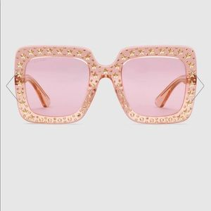 Gucci Oversize Square Sunglasses with Crystals